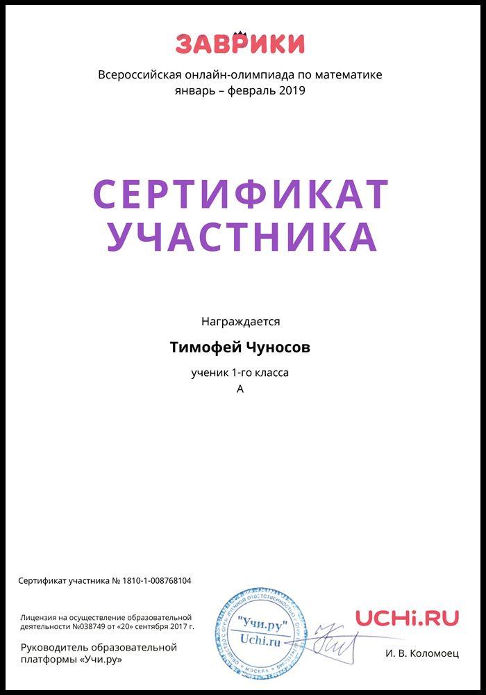 Сертификат Чуносова Тимофея