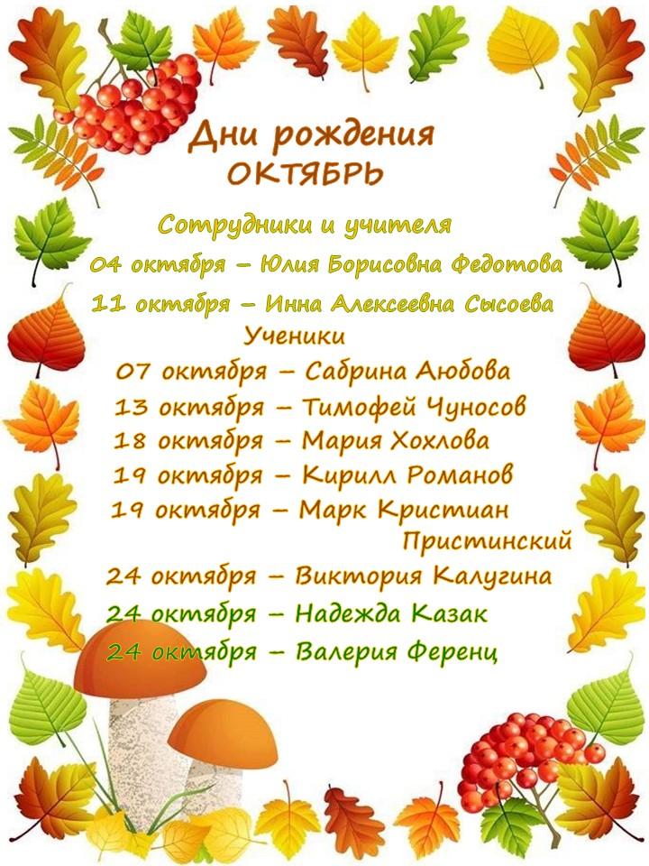 Дни рождения в октябре! Поздравляем!
